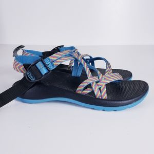 Chaco Classic Blue Rainbow Strappy Kids Sandals 5